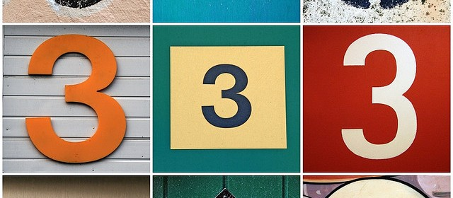 the number 3 in different fonts as a collage