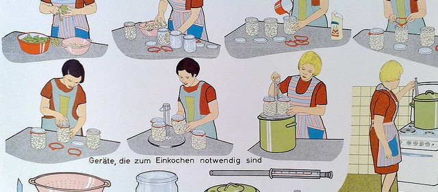 A cartoon diagram of the steps for jarring potatoes which looks like it's from the 1950s. There's a stereotypical pair of women in aprons, moving through the steps and a diagram of the necessary implements at the bottom.