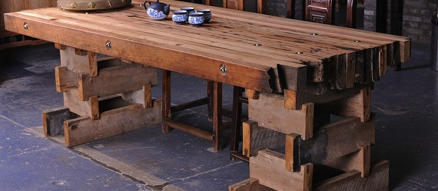 Photo of a rustic table