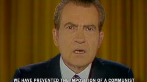Nixon given speech announcing victory in Vietnam War